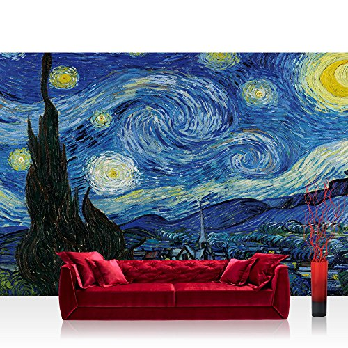 Vlies Fototapete 208x146cm PREMIUM PLUS Wand Foto Tapete Wand Bild Vliestapete - Gemälde Tapete Sternennacht Vincent van Gogh Ölfarbe Landschaft Malerei Kunst blau - no. 2660