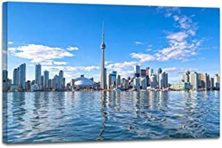 YOOUKEI Skyline of Toronto Skylines and Pictures Art Canvas Print Vintage Painting Poster Home Decor Wall Art Prints Living Room Decoration 24