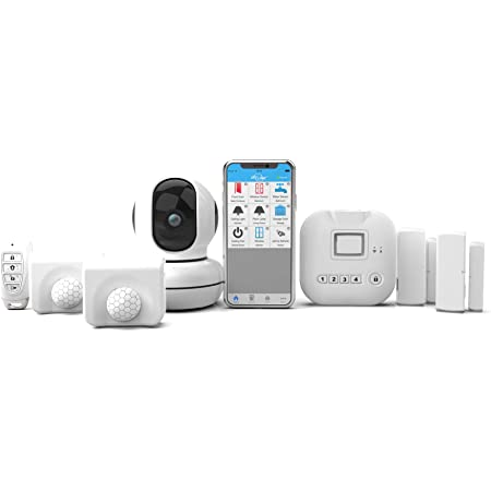 SKYLINK SK-250 Deluxe Connected Wireless Security Alarm Automation System with Camera Compatible with iOS, Android, Echo Alexa, Google Home and IFTTT and No Monthly Fees, White