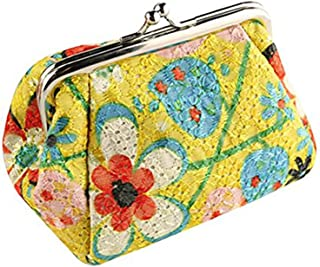 BESTOYARD Women's Coin Purse Flower Pouch Wallet Money Bag, Mother's Day gift or gift for women (Yellow)