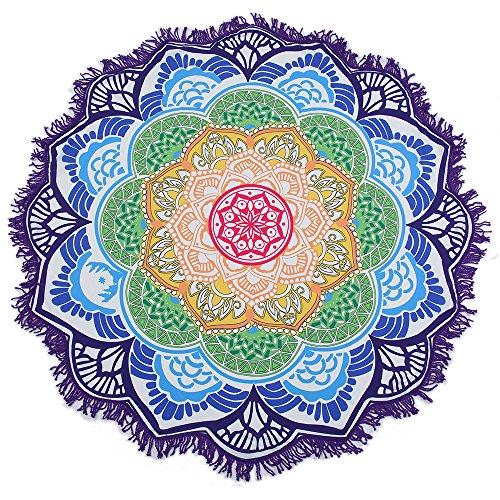 Toalla de playa y manta grande redonda con diseño de flor de loto y mandala, mantel con flecos, manta de playa, esterilla de yoga (morado)