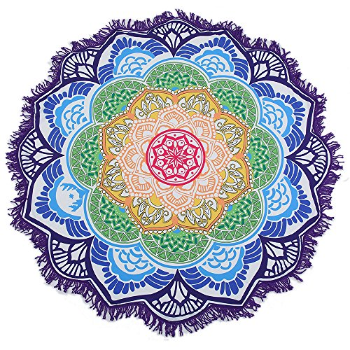 Lucky Shop1234 Large Round Lotus Flower Mandala Tapestry Beach Towel & Blanket Table Cloth Fringe Tassel Beach Blanket Yoga Mat (Purple)