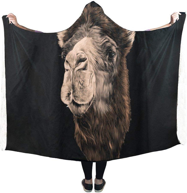 Dodom Camel Head Hooded Blanket Pilling Polar Fleece Hooded Throw Wrap-,Kids 130(H) x150(W)