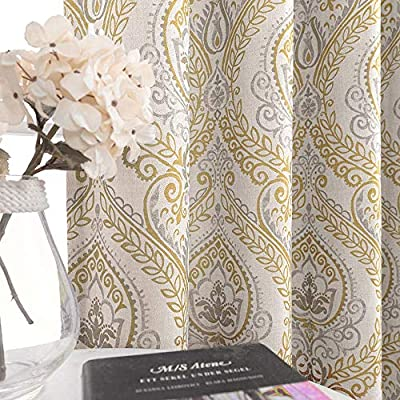 jinchan Damask Printed Curtains for Bedroom Drapes Vintage Linen Blend Medallion Curtain Panels Window Treatments for Living Room Patio Door 1 Pair 90 inches Long Yellow