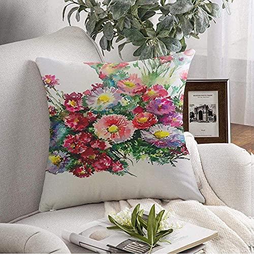 Fundas de Almohada Estuche Cozy Abstract Gift Texture Color Aster Blossom Color Bloom Off Arreglo Hecho a Mano Floral Made White Throw Pillow Cojín para sofá Decoración del hogar, 16'x 16'