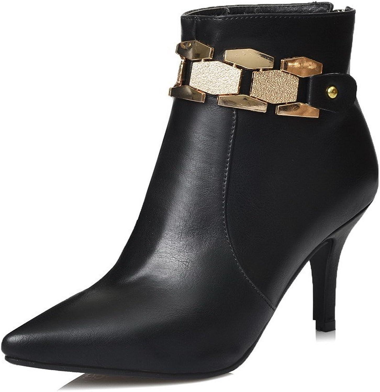 AllhqFashion Women's Closed Toe Blend Materials Low-Top Solid Zipper Boots