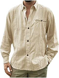 Baiggooswt Mens Stand Neck Long Sleeve Irregular Button Down Casual Cotton Linen Shirt Loose Plus Size Business Blouse