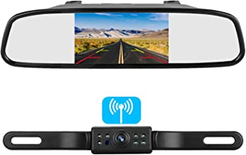 Emmako Backup Camera Wireless and 4.3'' Mirror Monitor System For Cars/SUVs/MiniVans HD Color Night Vision IP68 Waterproof Rear/Front View Camera Guide Lines On/Off
