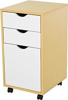 HOMCOM Gabinete de Archivo Armario Aparador para Oficina Estudio con 3 Cajones 4 Ruedas Giratorias Diseño Minimalista Nórd...