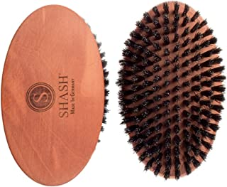 Made in Germany Since 1920 - SHASH Captain 100% Boar Bristle Hair Brush, Soft - Naturally Conditions Hair, Improves Texture - Exfoliates, Soothes and Stimulates the Scalp, Eco-Sourced Wood