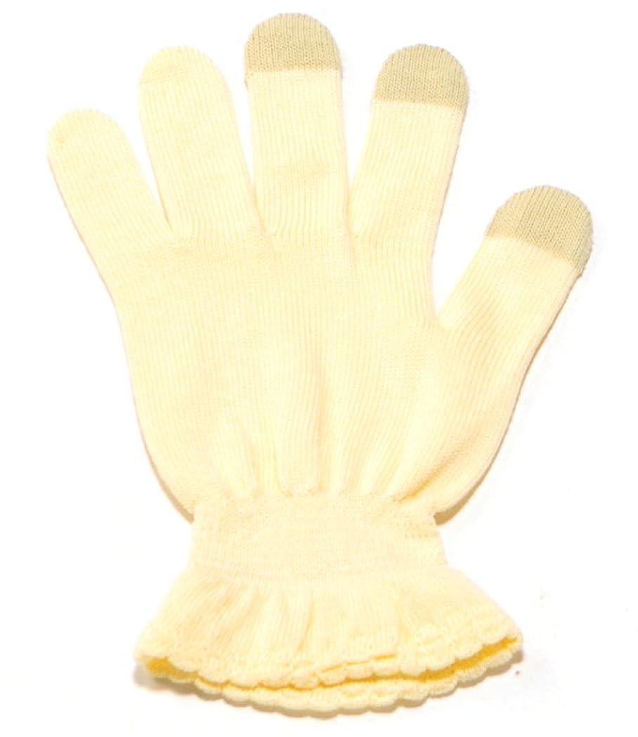 織る多分爆弾イチーナ【ハンドケア手袋タッチあり】スマホ対応 天然保湿効果配合繊維 (クリーム, M~L(19~22㎝))