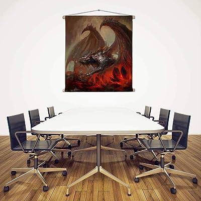 ArtzFolio Rising Dragon Satin Fabric Painting Tapestry Scroll Art Hanging 12inch x 12.4inch (30.5cms x 31.6cms)