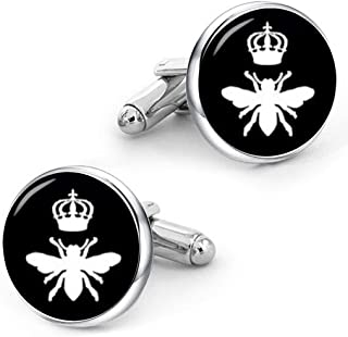 Kooer Queen Bee Cufflinks Custom Personalized Cuff Links Vintage Handmade Wedding Jewelry Gift