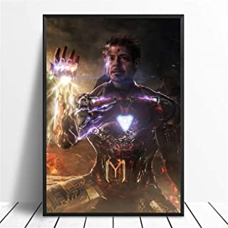 NATVVA Wall Art Print Canvas Painting Iron Man Avengers Endgame Movie Posters Abstract Artwork Wall Picture Home Decor for Living Room Gym Decor Stretched by Wooden Frame