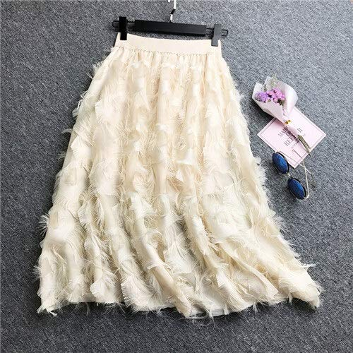 Falda larga de primavera para mujer, falda plisada de plumas y borla plisada, cintura alta, elástica, falda de fiesta informal (color: beige, talla: talla única)