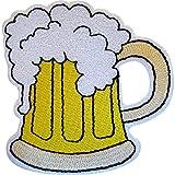 Écusson brodé en forme de verre de bière à thermocoller ou à coudre