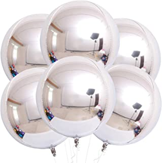 Silver Orbz Balloons Decorations - Pack of 6 | Large 22 Inches 360 Degree Round Metallic Helium Silver Balloons | 4D Spher...