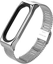 New Mijobs Mi Band 3 Strap Metal Bracelet for Xiaomi Mi Band 3 Screwless Stainless Steel Bracelet Wristbands Replace Accessories (Silver)