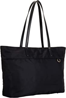 Nylon Shopping Tote Bag with Microfiber Leather Handles, Trolley Strap, Multiple Pockets and Key Clasp for Women (Black)