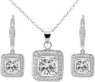Ivy Jewelry Set, 18k White Gold Cubic Zirconia Pendant Necklace and Dangle Earrings, Bridal Jewelry Set, Necklace Earring Set for Women, Princess Cut Jewelry Set