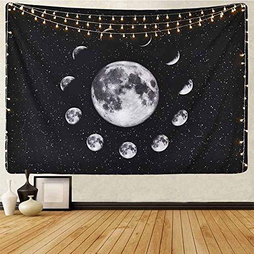 Athyior Tapiz de Pared Montaña y Luna - Fase Lunar Noche Paisaje Tapices Decoración Colgante de Pared Psicodélico Negro Blanco para Sala de Estar, Dormitorio, Hogar 59'x51'