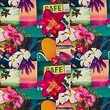 Hans-Textil-Shop Stoff Meterware Tropical Blumen Hibiskus
