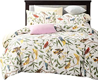 SexyTown Floral Bird Print Duvet Quilt Cover 3 Piece Egyptian Cotton Bedding Set Queen Pattern O