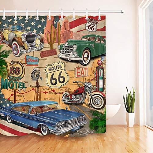 Brandless Autofahrt Durch Amerika Historische Retro-Reise Sexy MäDchen Duschvorhang Set Route 66 Badezimmer Stoff VorhäNge FüR Badewanne Dekor-B150xH180cm