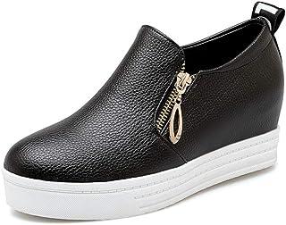 Zapatos de Plataforma de Mujer Tamaño Grande 43 Moda Color sólido Resistente al Desgaste Cremallera de PU Zapatilla de Dep...