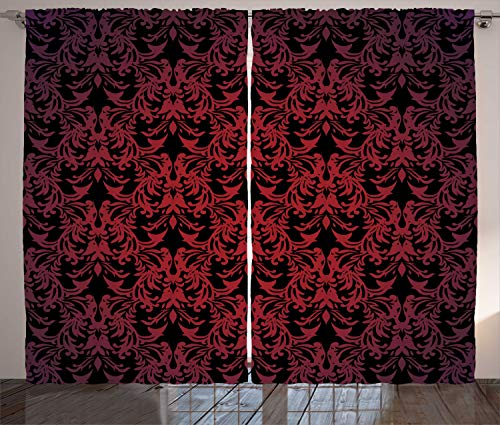 Ambesonne Victorian Curtains, Antique EuropeDesign Floral Swirls and Leaves Ombre Image, Living Room Bedroom Window Drapes 2 Panel Set, 108