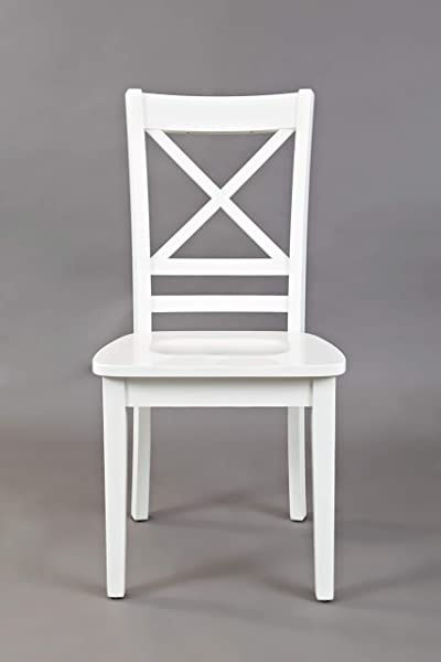 Benjara Benzara BM181494 Wooden Dining Side Chair With X Panel Back Set Of Two White