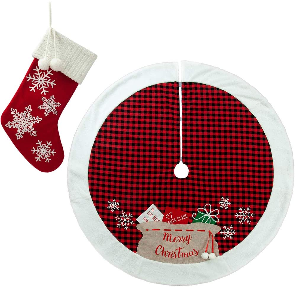 S-DEAL Christmas Max Popular shop is the lowest price challenge 52% OFF Tree Skirt 48 Inches Faux Border White with Fur