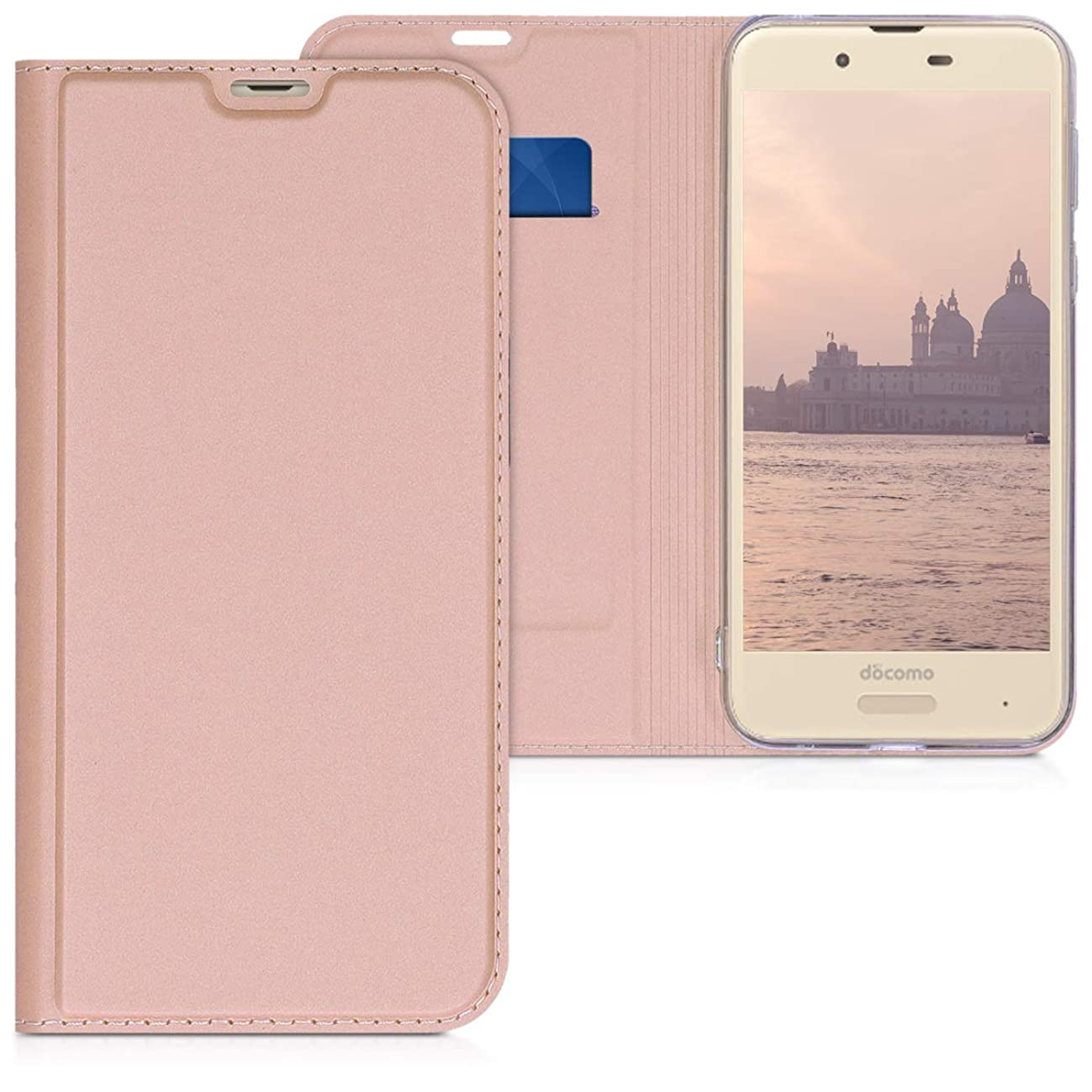 kwmobile Flip Case for Sharp AQUOS Sense2 (SH-01L) - Smooth PU Leather Wallet Folio Cover with Stand Feature - Rose Gold