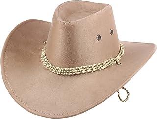 c2b9ad01 UwantC Mens Faux Felt Western Cowboy Hat Fedora Outdoor Wide Brim Hat with  Strap