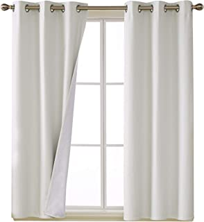Deconovo Total White Blackout Curtains with 3 Pass Energy Efficient Thermal Insulated Coating Faux Linen Room Darkening Grommet Curtains for Bedroom 38 x 54 Inch Length Set of 2 Curtain Panels