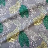 Stoff Meterware Baumwolle grau Blätter grün gelb weiß