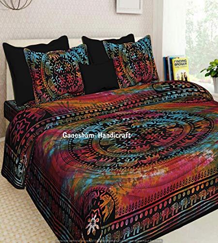 Juego de funda de edredón reversible para cama individual, diseño hippie gitano, bohemio, diseño de tapiz psicodélico, bohemio, de algodón