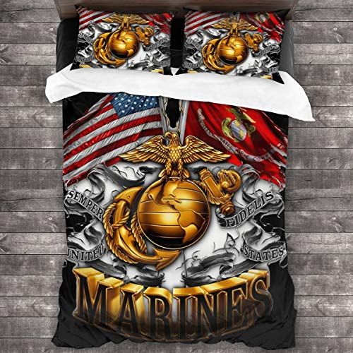 753 Our Double Flag Gold Globe Marine Corps Patriotic Duvet Cover Queen,Twin Bedding Duvet Cover Set,3-Piece,Novelty 3D Printed Comfortable Bedding Set