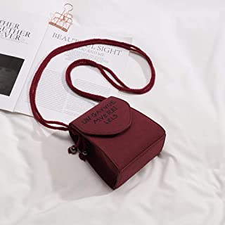 LIMING Mobile phone bag female tide shoulder messenger bag frosted bag female student chain bag small bag,Colour:Brown (Co...