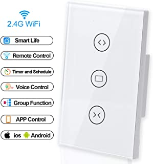 Smart Roller Shutter Switch, Shayon WiFi Motorized Blinds Curtain Shutter Switch Remote Control and Timing Function, Compatible with Alexa Echo and Google Home