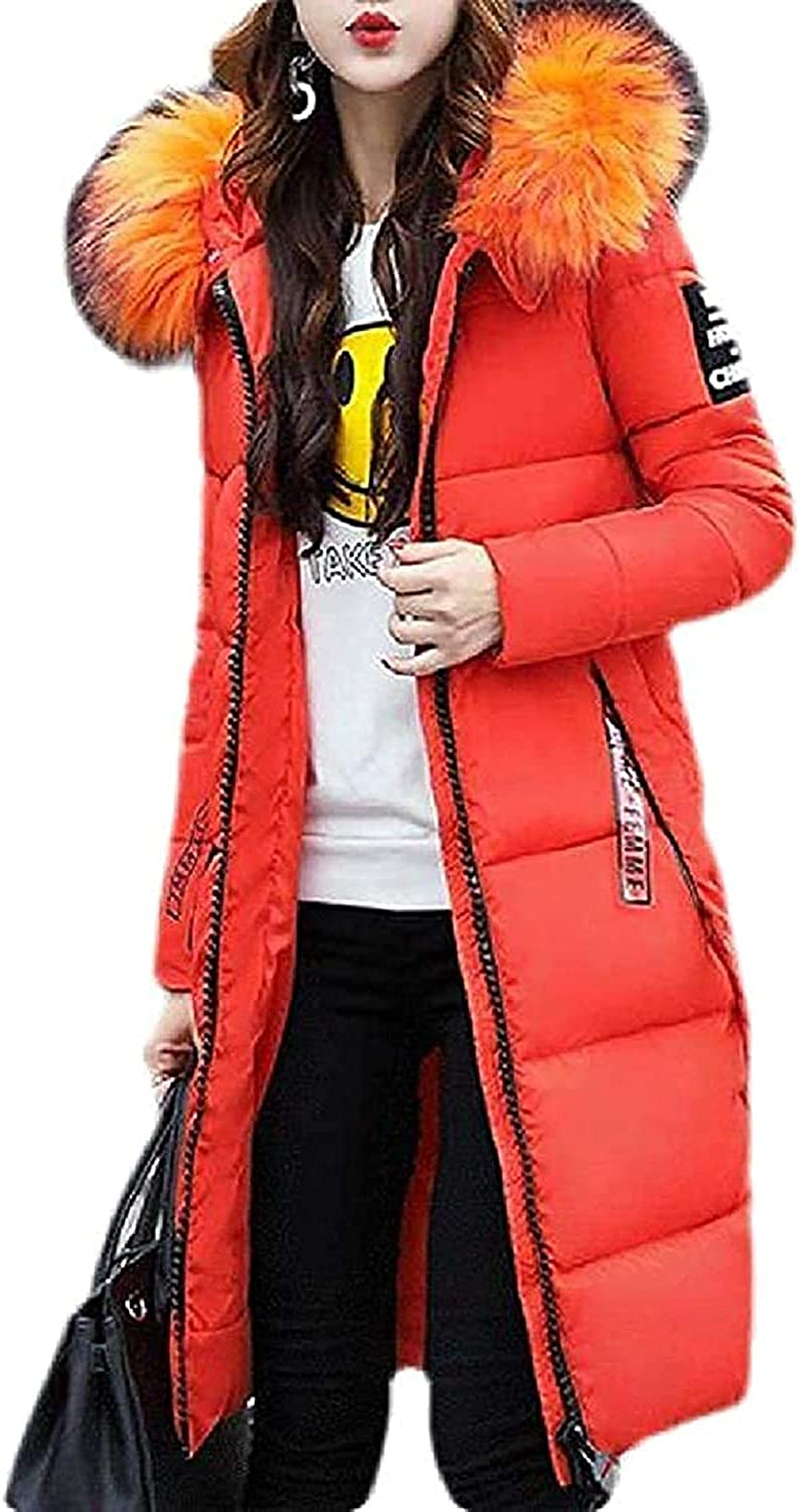 Manga Women's Hooded Slim Fit Quilted Fur Collar Winter Outdoor Down Jacket Coat