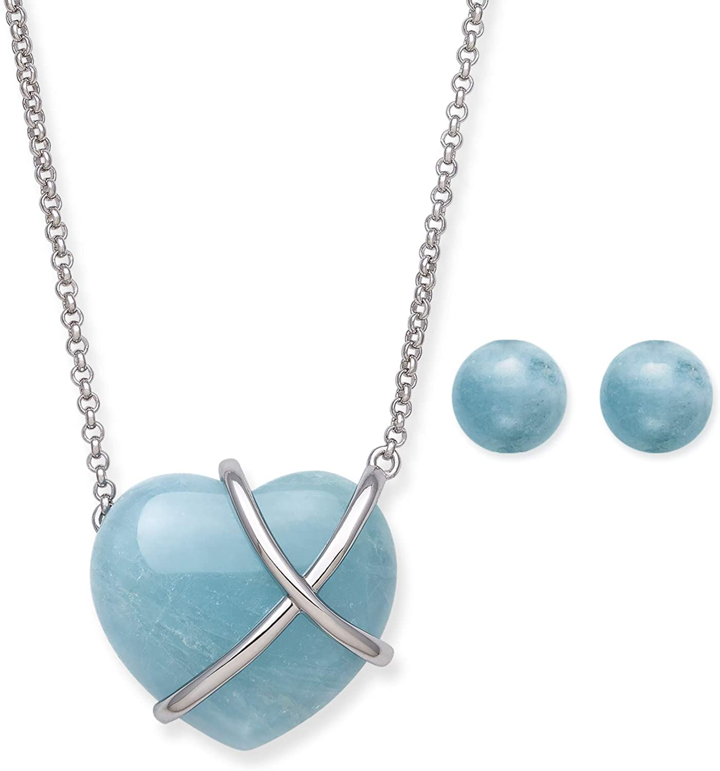 Sterling Silver Natural List price OFFicial Necklace Aquamarine Heart