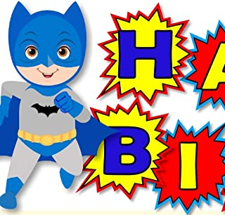 Personalized Batman Birthday Party or Baby Shower Banner- Optional Superheros, Superman, Captian America, Wonder Woman, Super Girl - Optional Decorations Invitations, Sign, Favors, Thanks - BCPCustom