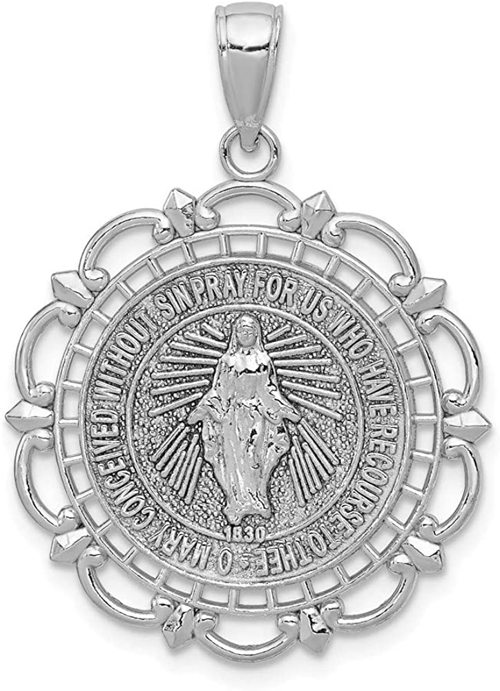 Solid 14K White Gold Miraculous Mary Medal With Scallop Frame Pendant Charm