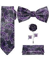 TIE G 5pcs Tie Set in Gift Box : Woven Paisley Necktie, Satin Bow Tie, Pocket Square, Lapel, Cuff Links (Purple Paisley)