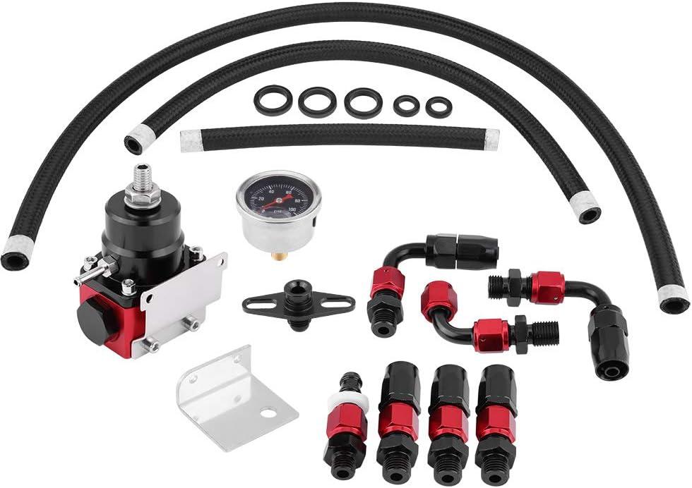Qiilu Adjustable Fuel Pressure Regulator safety 0-100psi Oil with Special Campaign G Kit