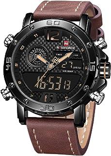 Men's Waterproof Sports Leather Watch Multi-Function Display Backlight Digital Quartz Wrist Watches
