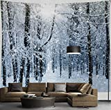 HIYOO Home Christmas Forest Tree Wall Hanging Tapestry, Xmas New Year Winter Wall Tapestry Fabric Art Decorations, Decor for Dorm Room Bedroom Living Room, Party Background - Snowy Woods 90'W x 71'L