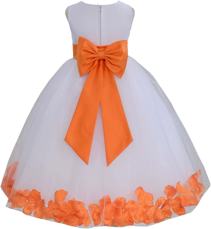 White Tulle Rose Floral Petals Toddler Flower Girl Dresses Bridal Gown 302T