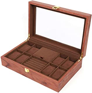 Sponsored Ad - LYNICESHOP Vintage Retro Wooden Jewellery Organizer Box 8+2 Slots Storage Watch Wood Jewelry Box Treasure C...